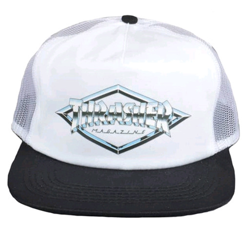 THRASHER DIAMOND EMBLEM TRUCKER HAT (WHITE)