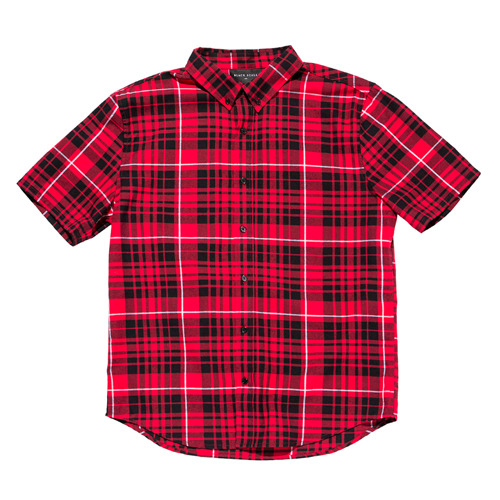 BLACKSCALE Signature Plaid Short Sleeve Button Down Red