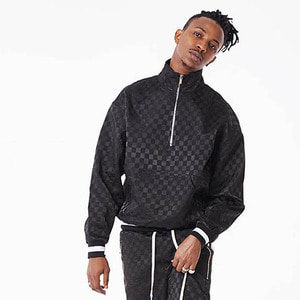 FNTY Satin checkboard half-zip up BLACK