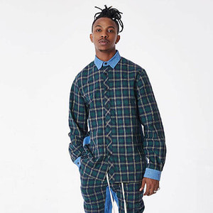 FNTY Plaid denim button up shirts GREEN