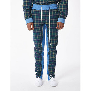 FNTY Plaid denim pants GREEN