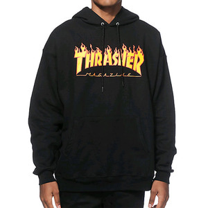 [스티커 8개증정] THRASHER FLAME HOOD (BLACK)