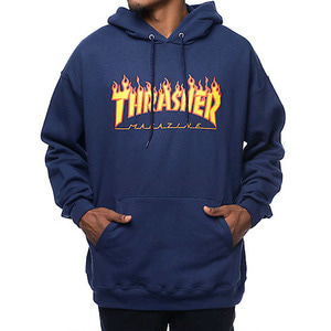 [스티커 8개증정] THRASHER FLAME HOOD (NAVY)