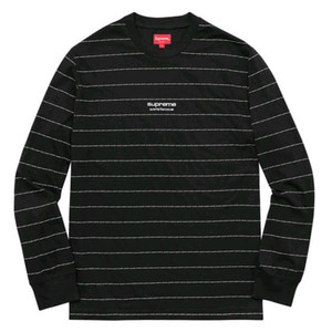 SUPREME LOGO STRIPE L/S TOP