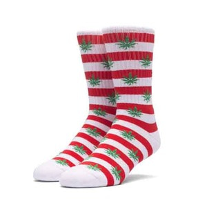 HUF PLANTLIFE CANDY CANE SOCK RED