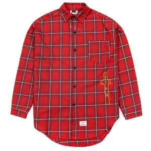 STIGMA GUADALUPE OVERSIZED CHECK SHIRTS RED
