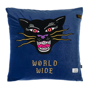 STIGMA BLACK PANTHER VELVET THROW PILLOW BLUE