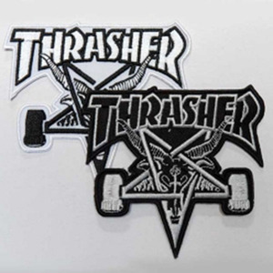 THRASHER SKATE GOAT PATCH (BLACK / WHITE)