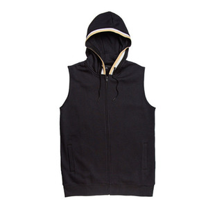BLACK SCALE RIBBED CUT OFF HOODIE VEST (BLACK)