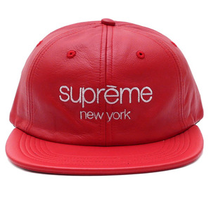 SUPREME Original Leather Classic Logo 6-Panel (RED)