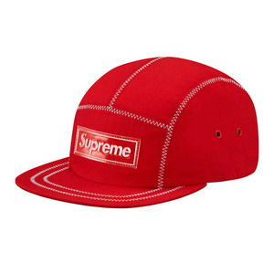 SUPREME Contrast Stitch Red 5 Panel Cap (RED)