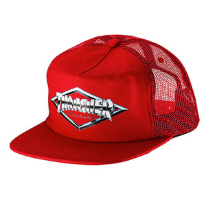 THRASHER DIAMOND EMBLEM TRUCKER HAT (RED)
