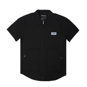 The Hundreds Franklin zip-up woven shirt (BLACK)