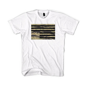 BLACKSCALE Tiger Camo Rebel Flag T-Shirt, White