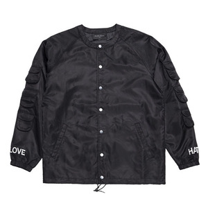 BLACKSCALE SCOOP NECK COACHES JACKET BLACK