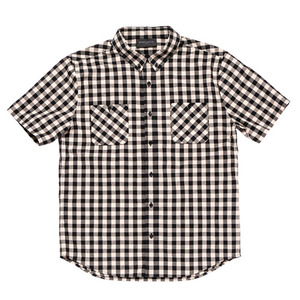 BLACKSCALE Gingham Plaid Short Sleeve Button Down Black