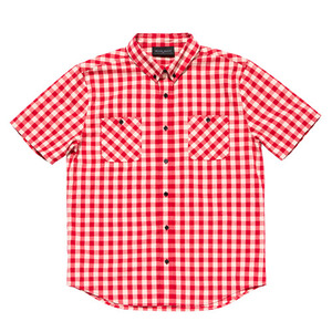 BLACKSCALE Gingham Plaid Short Sleeve Button Down Red